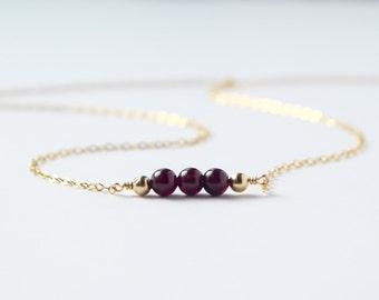 Garnet necklace / wine red Garnet gemstone jewelry / bar necklace / minimalist unique handmade jewelry / January birthstone / Courage