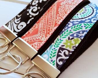 Wristlet  Keychain, Paisley Key Fob, KeyRing, Paisley Key Ring, Damask KeyChain,  Black wristlet key fob, Teachers Gift, Bachelorette