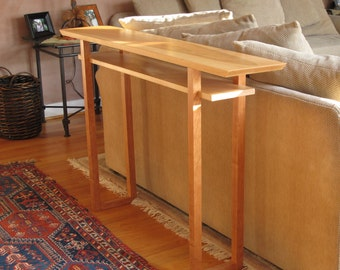 Handmade Narrow Wood Sofa Table: Console Table, Hall Table  Mid Century  Modern Wood