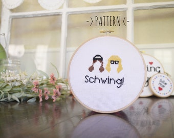 "Wayne's World ""Schwing"" - Cross Stitch Pattern - Instant Download"