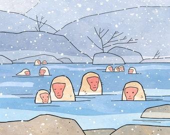 Snow Monkeys Art Print, Japanese Macaques hot spring illustration