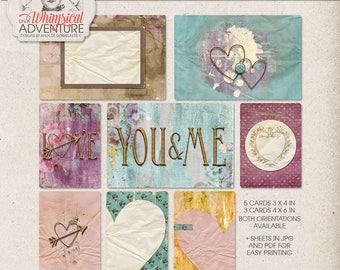 Pocket Journal Set, Engagement Photo Album, Valentine Card Ideas, Valentine's Day Journal Cards, Project Life Album, Digital Download,