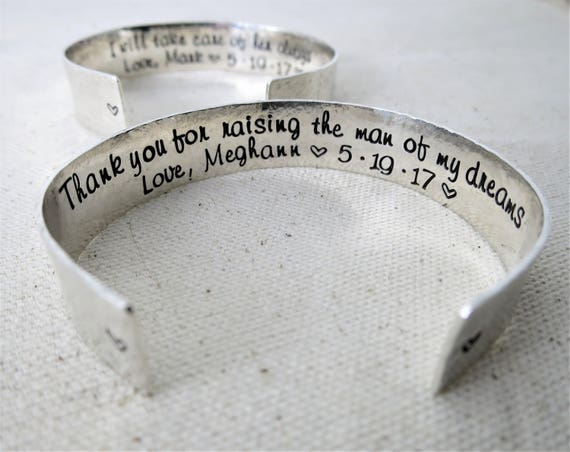 Sterling Silver Cuff - Gift for Mother of the Bride -  Gift for Mother of the Groom - Thank you for raising the man of my dreams