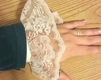 Elegant Lace Ruffle Wrist Cuff for Steampunk/ Victorian / Pirate in White, Red, or Dusty Rose.