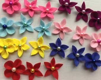 set of 24 flowers felt flower for embellishment, scrapbooking, customisation, flower