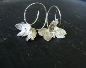 ON SALE -- Purslane Flower Hoops -- Botanical Jewelry