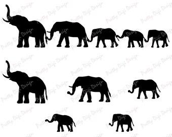 Digital Elephant family holding tails clipart, Elephant eps, png, svg, dxf, Elephant stamp, Elephant family overlay, Elephant nursery art