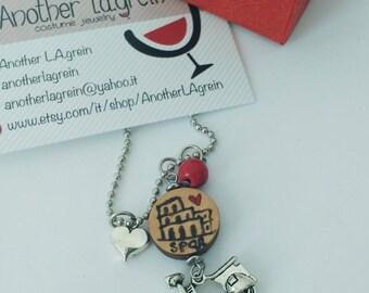 Rome necklace, Souvenir necklace, hand painted necklace, Coliseum necklace, Roman holidays