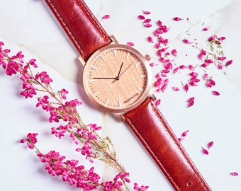 Rose Gold Leather Watch, Womens Wood Watch, Gift for her, Stainless steel watch with tailored leather strap