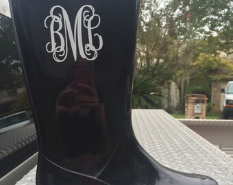Rain Boot Monogram Decals (Set of 2 Decals)