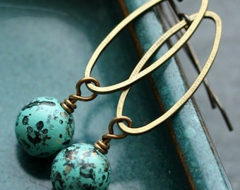 Verdigris Dangle Earrings with Vintage Lucite Beads