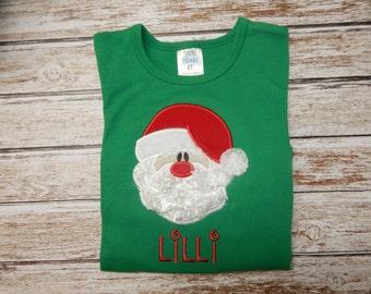 Girls Christmas Shirt; Santa Shirt; Girl's green shirt;  Girl's Santa Shirt