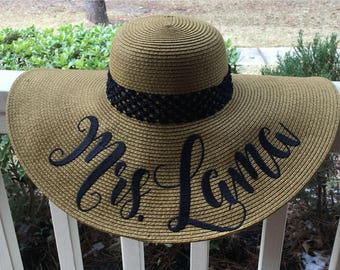"EMBROIDERED Bride Floppy Hat, Custom ""Mrs."" Floppy Hat, White with Black Monogrammed Bride Beach Hat - Wedding Gift"