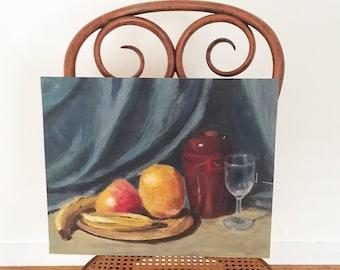 Vintage Original Still Life Fruit Painting - Bohemian Boho Jungalow Eclectic Decor Style home - oil painting apple banana glass #1143