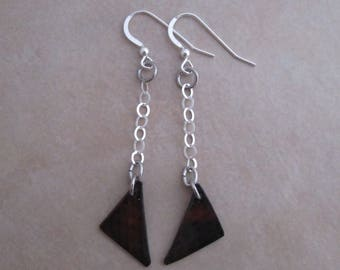 bring it on earrings oxidized copper sterling silver