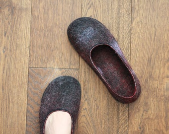 LUCIELALUNE  spring shoes flat barefoot loafer handmade felted merino wool slip on shoes unisex