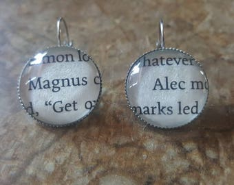 Mortal Instruments Magnus and Alec book page earrings