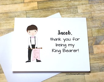 Thank you for being my Ring Bearer Bowtie Flag Card - Personalized Ring Bearer Card - Wedding Stationery - Ring Bearer Thank You Card DM245