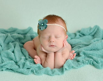 Ocean Blue Stretch Knit Baby Wrap Newborn Photography Prop Layer