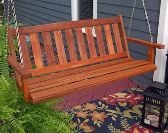 Porchgate Amish Made Mission Red Cedar Porch Swing