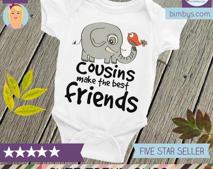 Cousins Make The Best Friends Onesie Infant Bodysuit | Cute Baby Onesie ®, Cute Baby Onesies | Elephant and Bird Cousins Onesie | Baby Gift