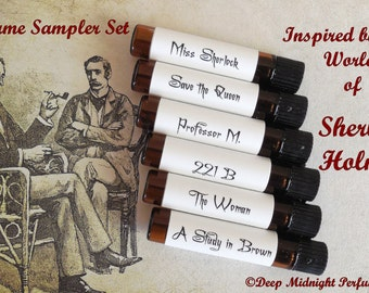 SHERLOCK HOLMES inspired PERFUME Sample Set of Six Vials