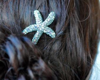 Handmade Aurora Borealis AB Crystal Rhinestone Starfish Sea Life Hair Clip, Destination or Beach Wedding, Bridal (Sparkle-2493)
