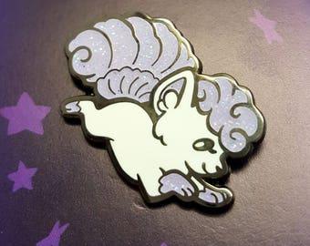 SHINY ALOLA VULPIX Glitter Enamel Pin. Alolan Vulpix Fox Kitsune Pokemon Lapel Pin.