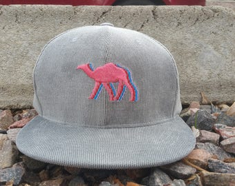Camelwalk Snapback Hat / Grey Corduroy with Cotton Candy Camel