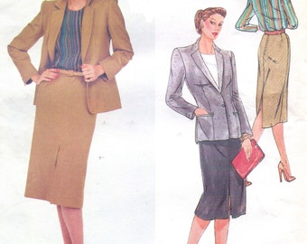 80s Christian Dior Womens Below Hip Jacket, Straight Skirt & Back Buttoned Blouse Vogue Paris Original Sewing Pattern 2405  Size 16 Bust 38
