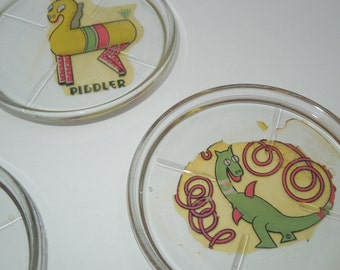 Rare 1920s glass coasters, Hoop-A-Doo and Piddler the Horse, Vintage, Five