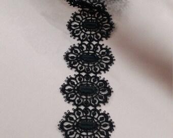 Black lace Trimming, French Lace, Alencon Lace, Bridal gown lace, Wedding Lace, Garter lace, Evening dress lace, Lingerie Lace yard FL47901