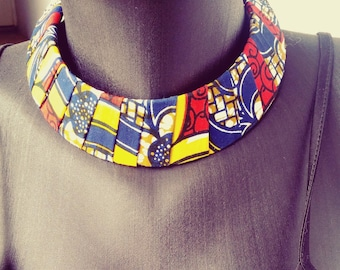 wax(pagne africain) multi color necklace
