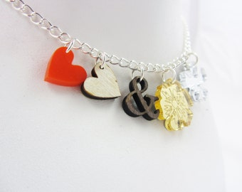 Hearts 'n' Flowers charm necklace
