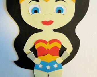 Super Hero Girl Wonder Woman Paper Die Cut Paper Doll Scrapbook Embellishment
