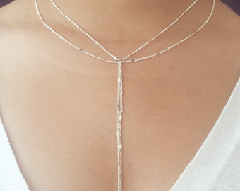 Silver Double Strand Y Necklace, Boho Jewelry, Lariat Necklace