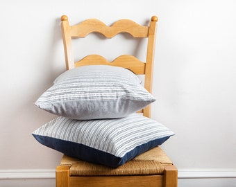 Striped Pillow Cover, White Navy, Pillow Cover, Lightweight Pillow Cover, Bed Pillow Cover, Throw Pillow Cover, Navy White Pillow, Cotton