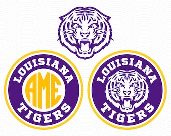 Louisiana Tigers Monogram Frame (SVG, EPS, DXF, Studio3) Cut Files for use with Silhouette Studio, Cricut Design Space, Cutting Machines