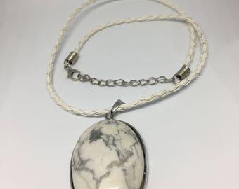 Oval White Howlite Pendant
