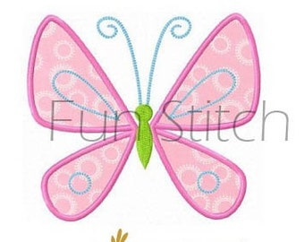 Butterfly applique machine embroidery design instant download