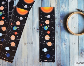 PLANETS BOOKMARK, galaxy bookmark, space bookmark, planets illustration, customize order, customize bookmark, name bookmark, handmade