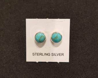 5 mm Kingman turquoise Round stud earrings - sterling silver