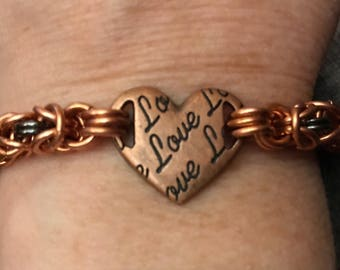 Copper byzantine chainmaille Love bracelet