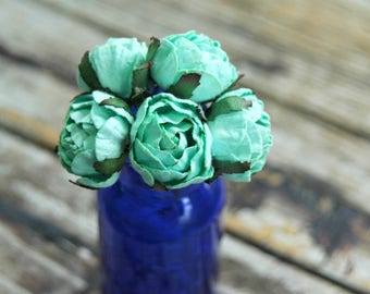 5 pcs . Mint Green Cabbage Roses . Mulberry Paper Flowers . Peonies Peony Flowers . DIY Flower Crown . Day of the Dead . Dia de los Muertos