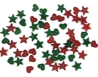 Jesse James Buttons Holiday Micro Mini Shapes Button Christmas Xmas Tiny Garland 2 hole hearts stars Red Green