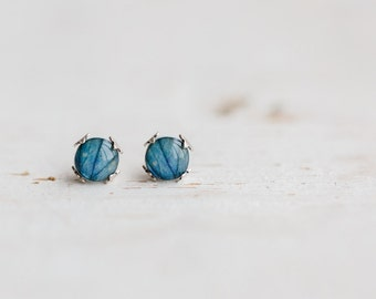 Blue flower earring studs, Mothers day gift, Blue stud earrings, Blue bridesmaid gift earrings, hydrangea jewelry Blue earrings gift for her