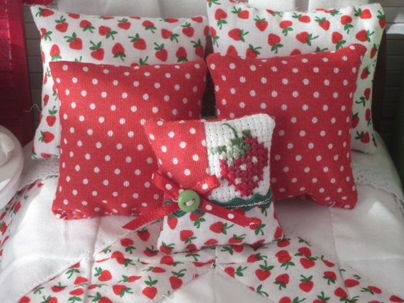 Miniature Strawberry Patchwork Quilt, Cross Stitched Pillow, Shams, Sheet, Mattress and Sleigh Bed- Dollhouse Scale