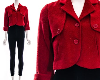 Vintage 90s does 50s Red Retro Cropped Coat boucle tweed Bolero Red Jacket Short Jacket cropped jacket crop top Small