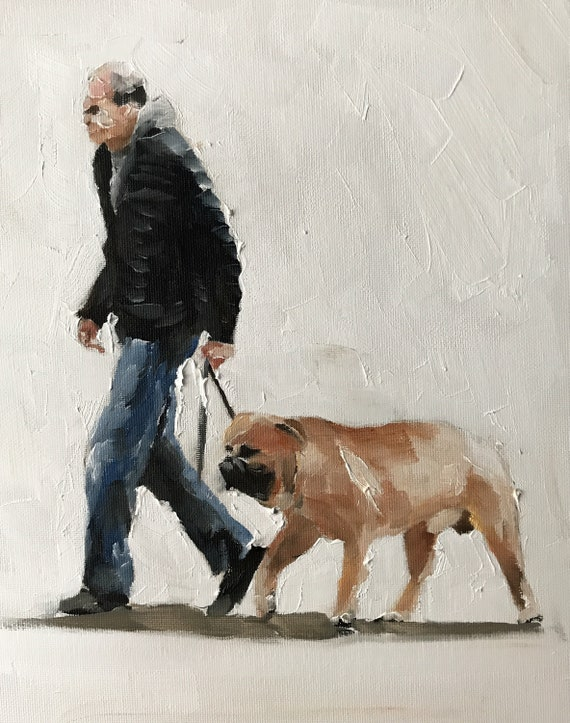 Walking Dog Art Man and Dog Painting Man Walking Dog Art PRINT Man with Dog - Art Print - from original painting by J Coates