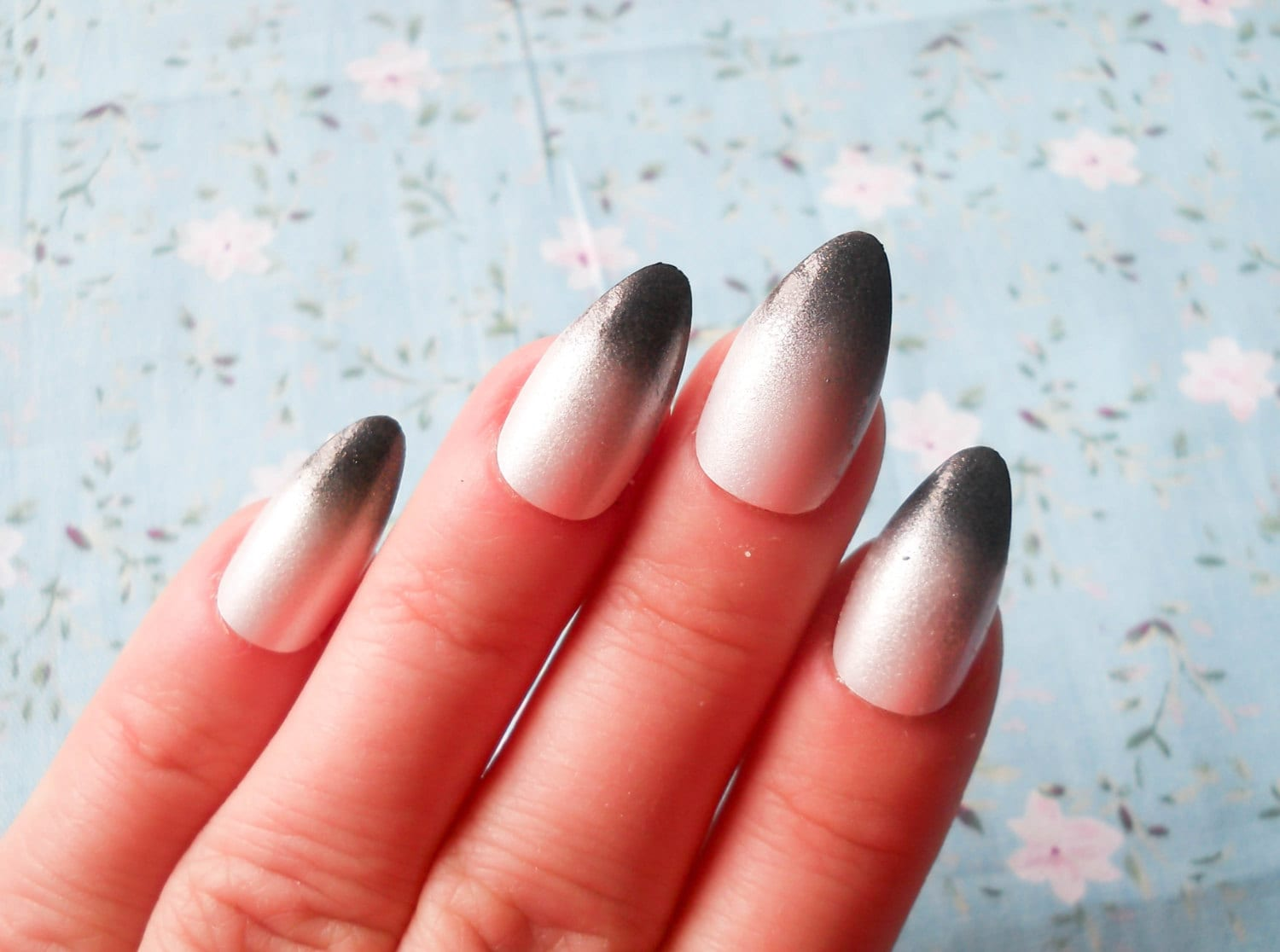 Pearl Ombre Nails / Fake Nails / Stiletto Nails / Press on Nails ...